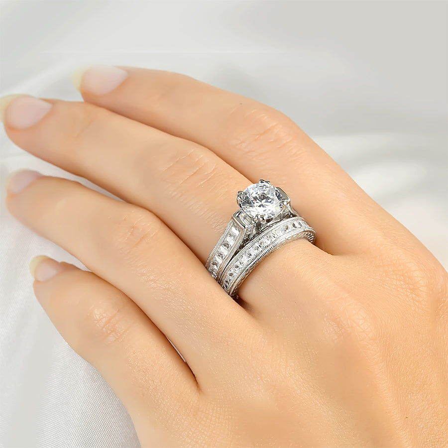 2.00 Carat Wedding Band Engagement Ring Set Authentic Sterling Silver