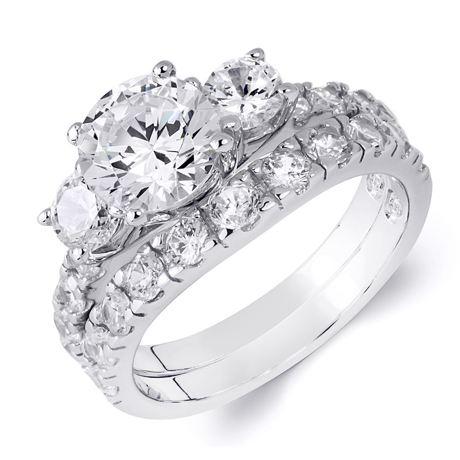 2.0 Carat Round Cut Wedding Band Engagement Ring Set Sterling Silver