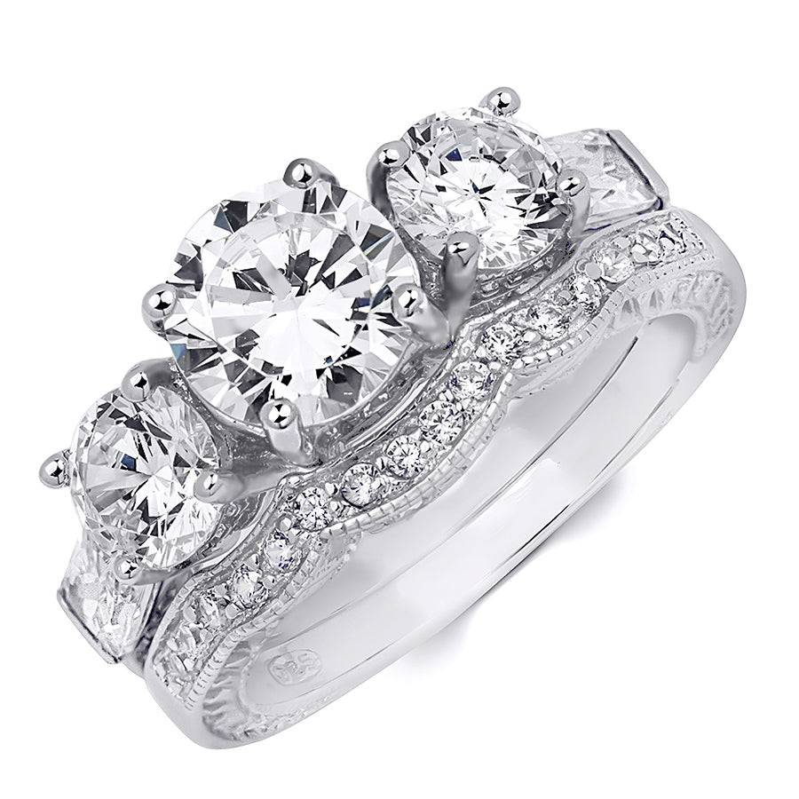 2.25 CT Brilliant Round Cut 3-Stone Wedding Band Ring Set Silver