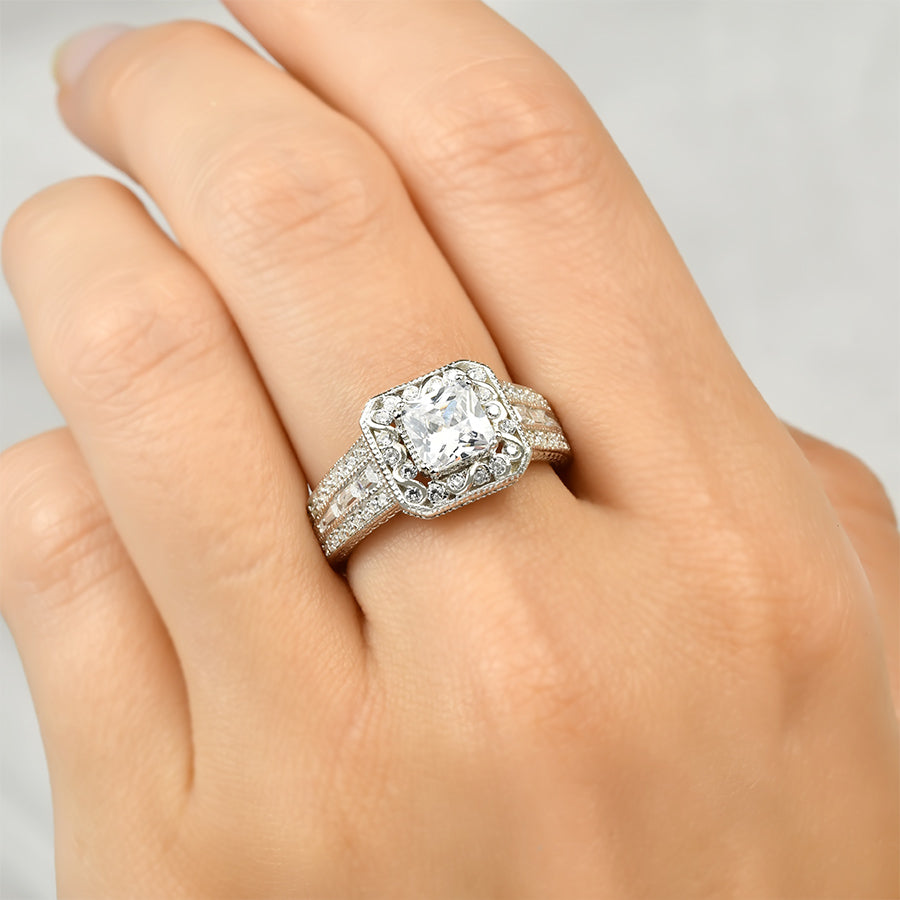Princess Cut 2.15 Carat CZ Wedding Engagement Ring Sterling Silver