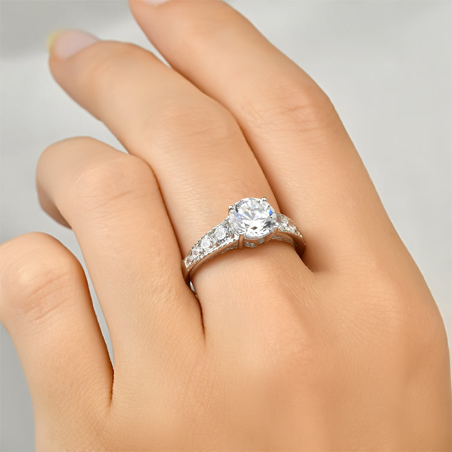 2.00 Carat Round Cut Cubic Zirconia Ring Authentic Sterling Silver