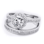 Sterling Silver 1.15 Carat Flower Design Bridal Ring Set Comfort Fit