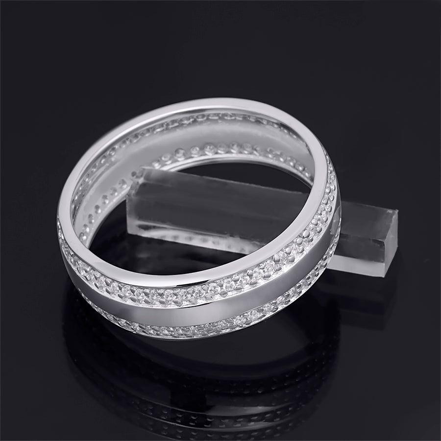 Men's 6mm Sterling Silver 0.75 CT Eternity Wedding Band Ring Round Cut