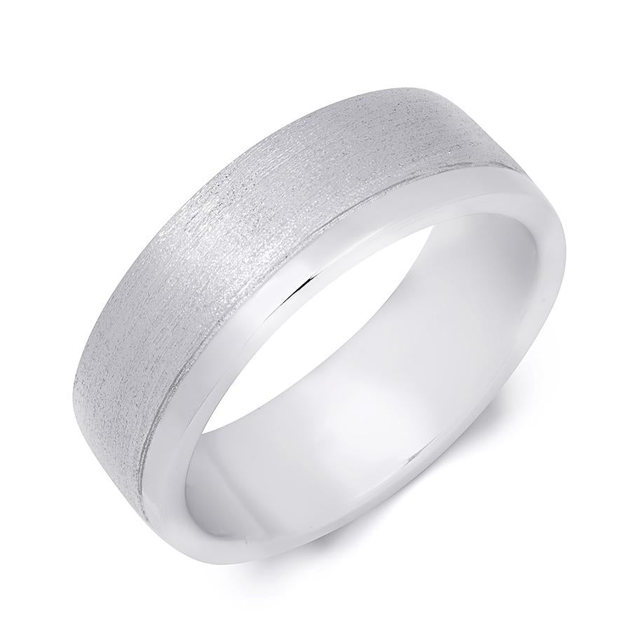 Mens Solid 925 Sterling Silver 7.5mm Anniversary Wedding Band Ring