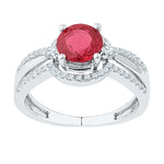 10kt White Gold Womens Round Lab-Created Ruby Solitaire Ring 2-1/12 Cttw