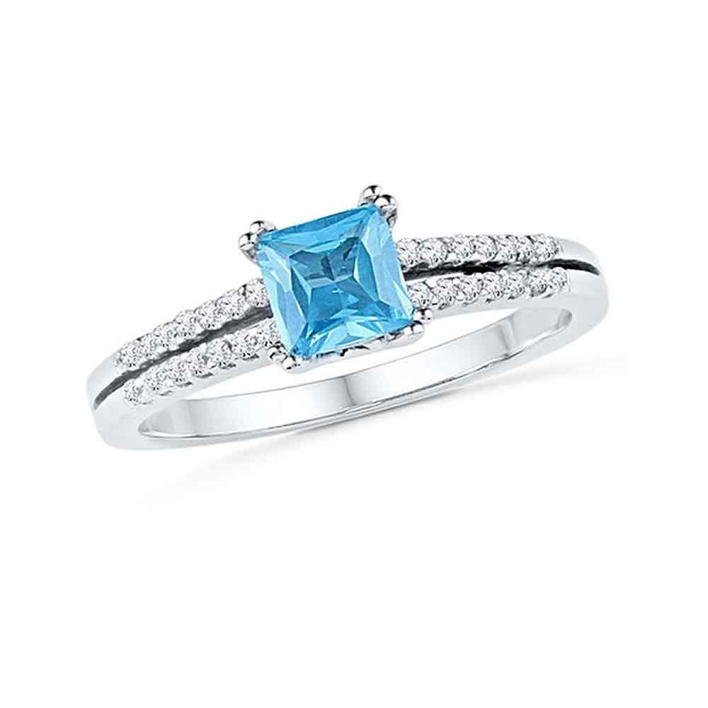 10kt White Gold Womens Princess Lab-Created Blue Topaz Solitaire Ring 5/8 Cttw