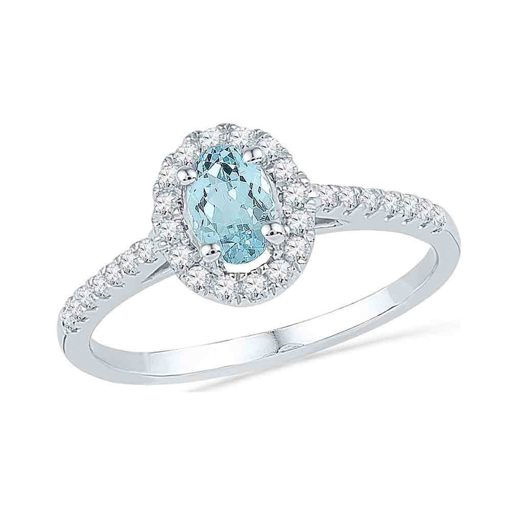 10kt White Gold Womens Oval Aquamarine Diamond-accent Solitaire Ring 1/5 Cttw