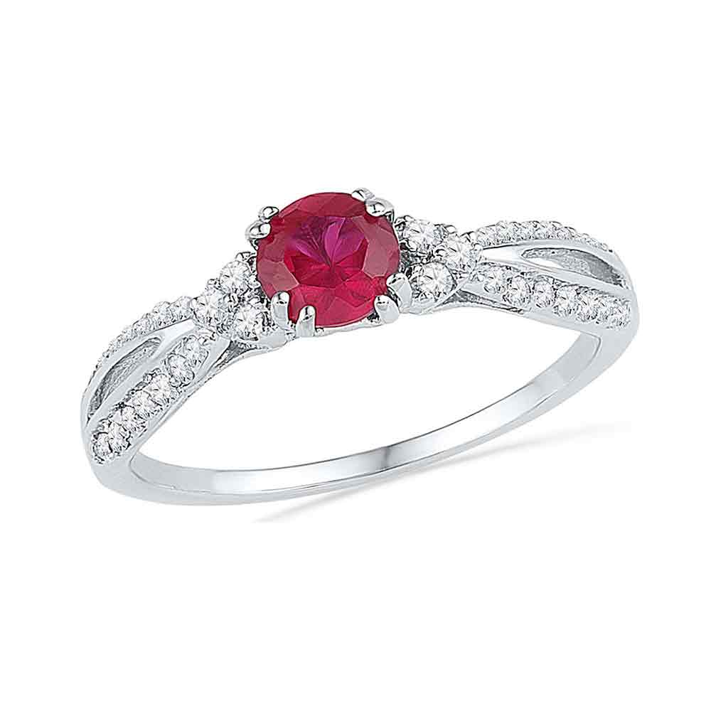 10kt White Gold Womens Round Lab-Created Ruby Solitaire Diamond Split-shank Ring 3/4 Cttw