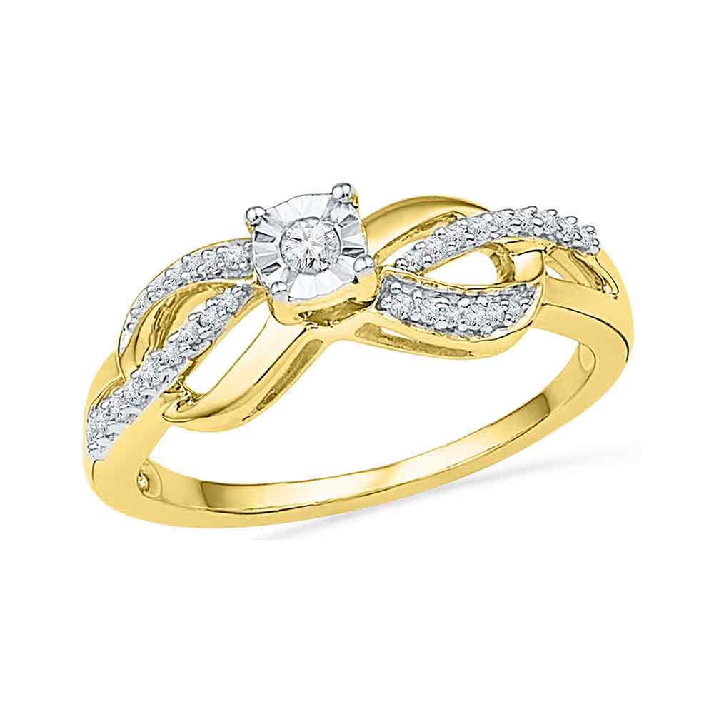 10kt Yellow Gold Womens Round Diamond Solitaire Infinity Promise Bridal Ring 1/6 Cttw