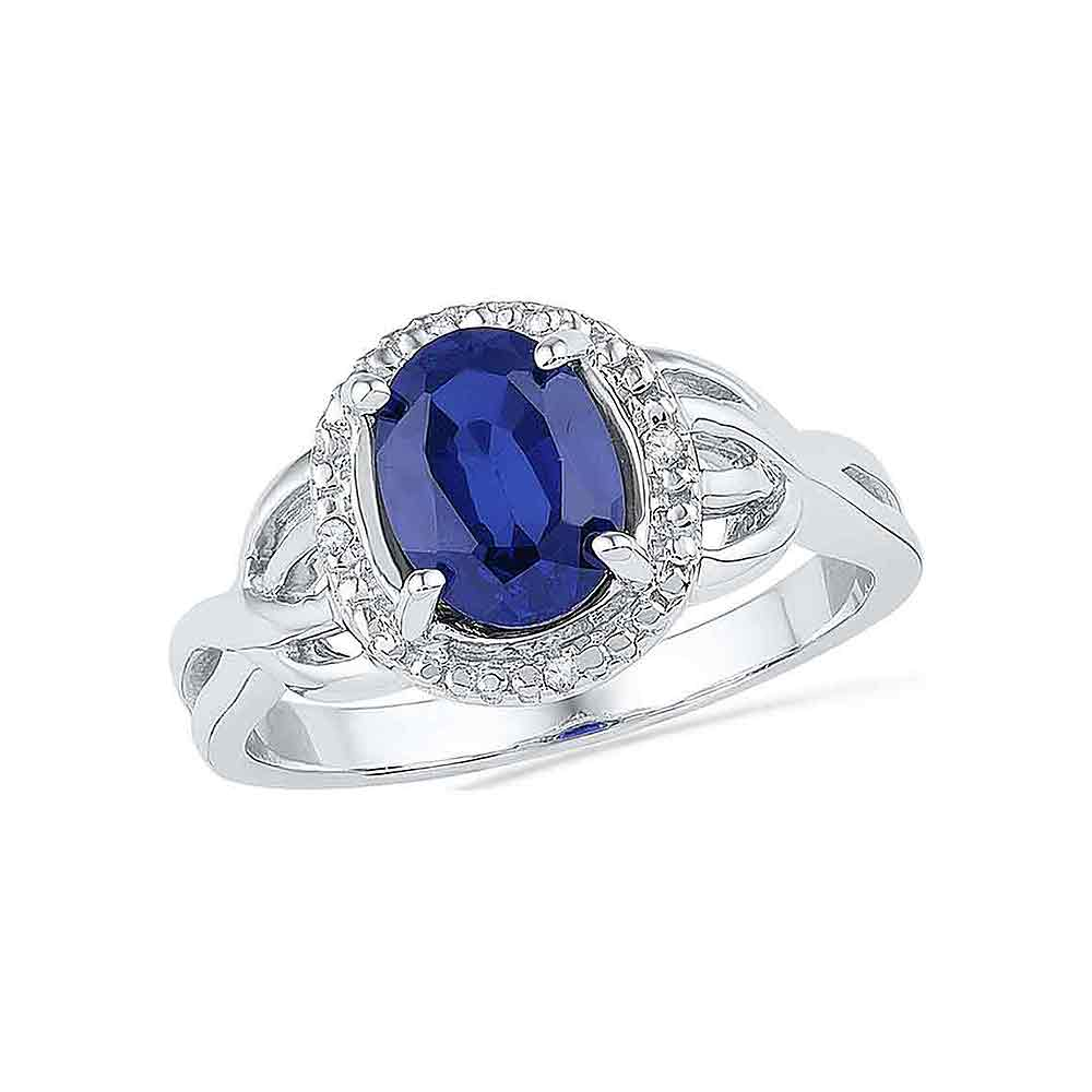 10kt White Gold Womens Oval Lab-Created Blue Sapphire Solitaire Diamond Ring .02 Cttw