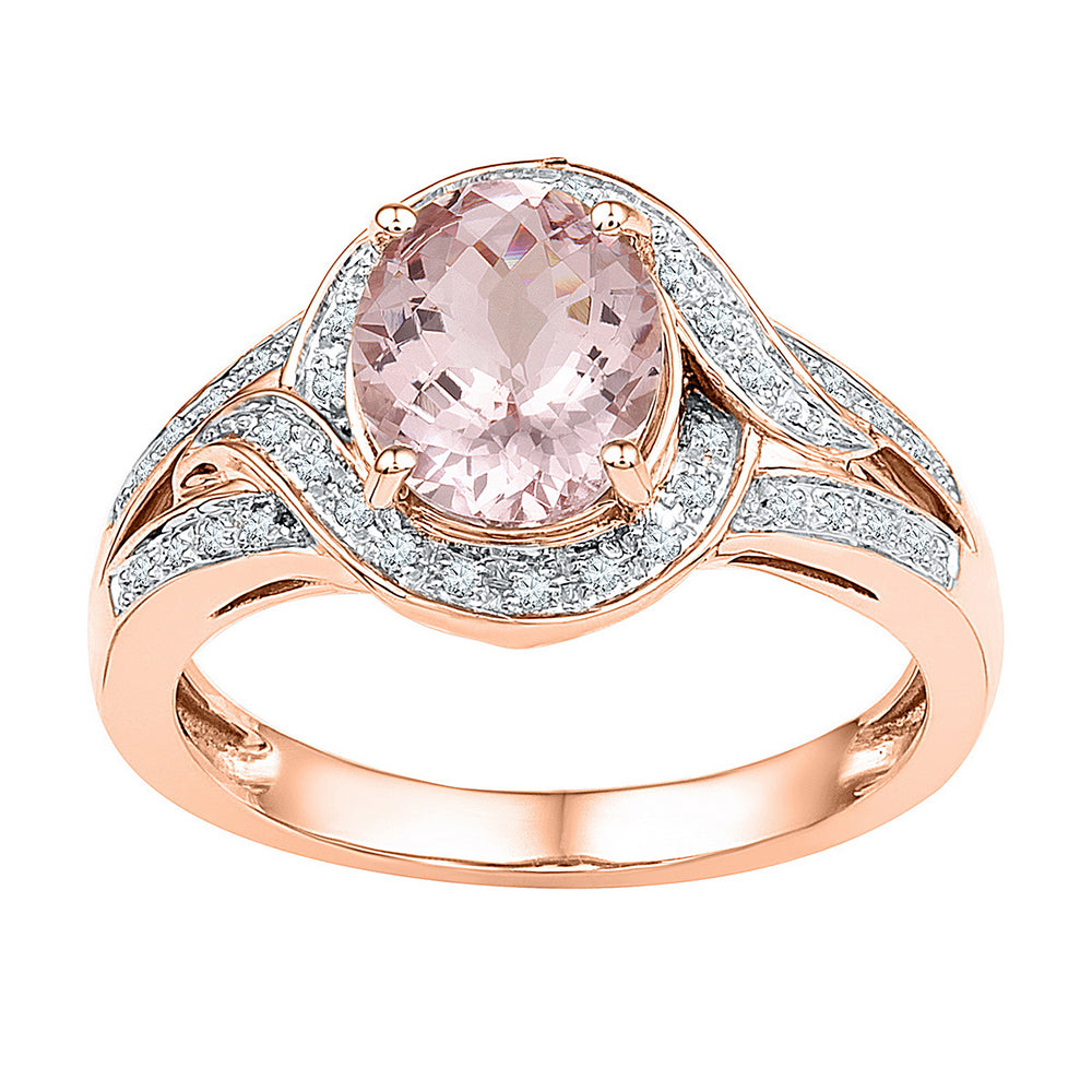 10kt Rose Gold Womens Oval Natural Morganite Solitaire Diamond Ring 1-5/8 Cttw