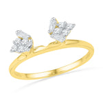14kt Yellow Gold Womens Baguette Diamond Ring Guard Wrap Solitaire Enhancer 1/4 Cttw