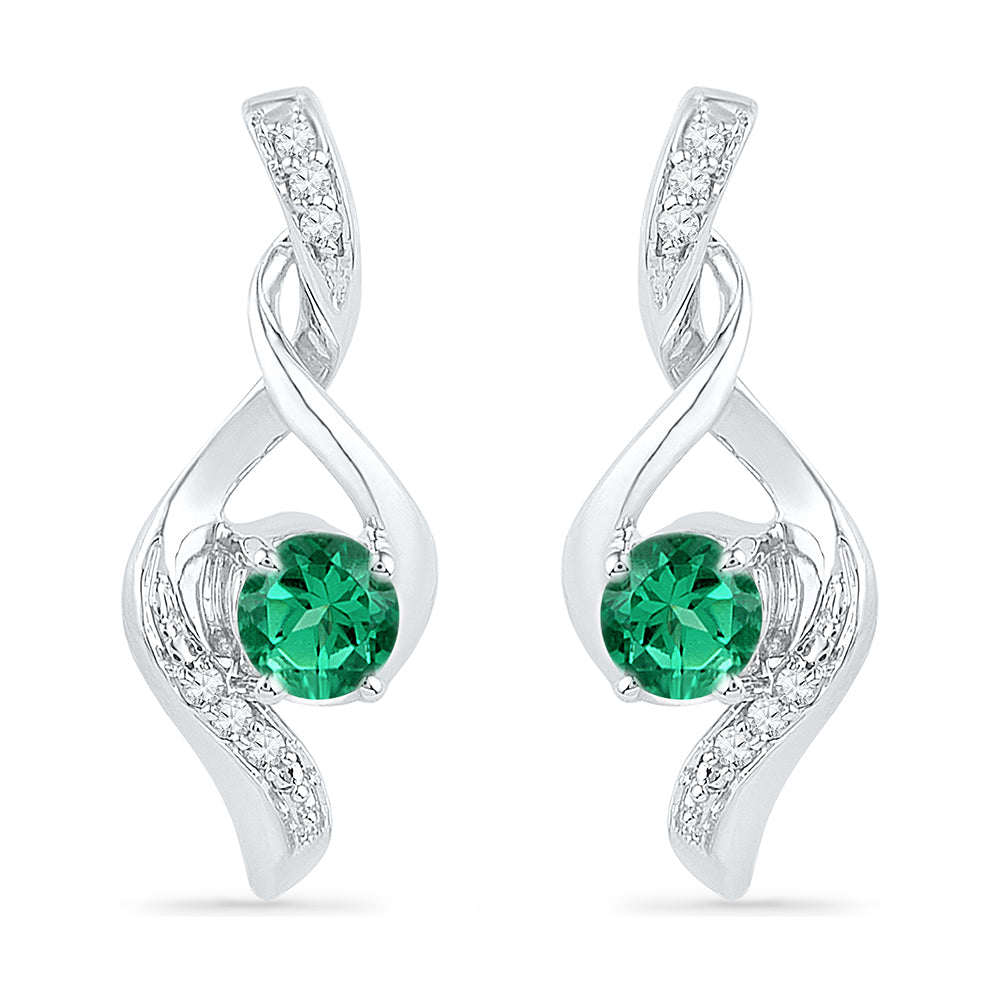 10kt White Gold Womens Round Lab-Created Emerald Solitaire Diamond Earrings 1/3 Cttw