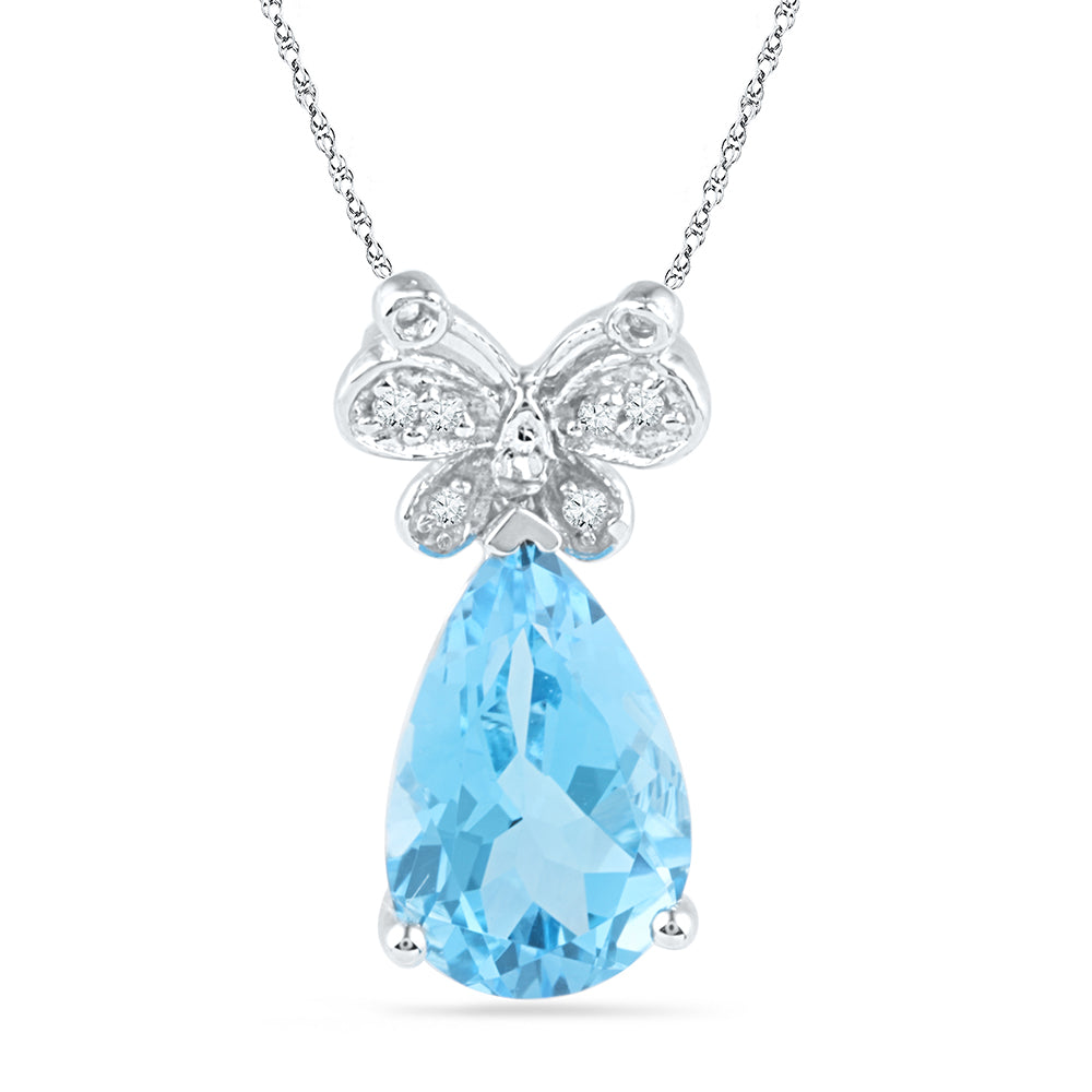 10kt White Gold Womens Pear Lab-Created Blue Topaz Butterfly Bug Diamond Pendant 2-1/2 Cttw