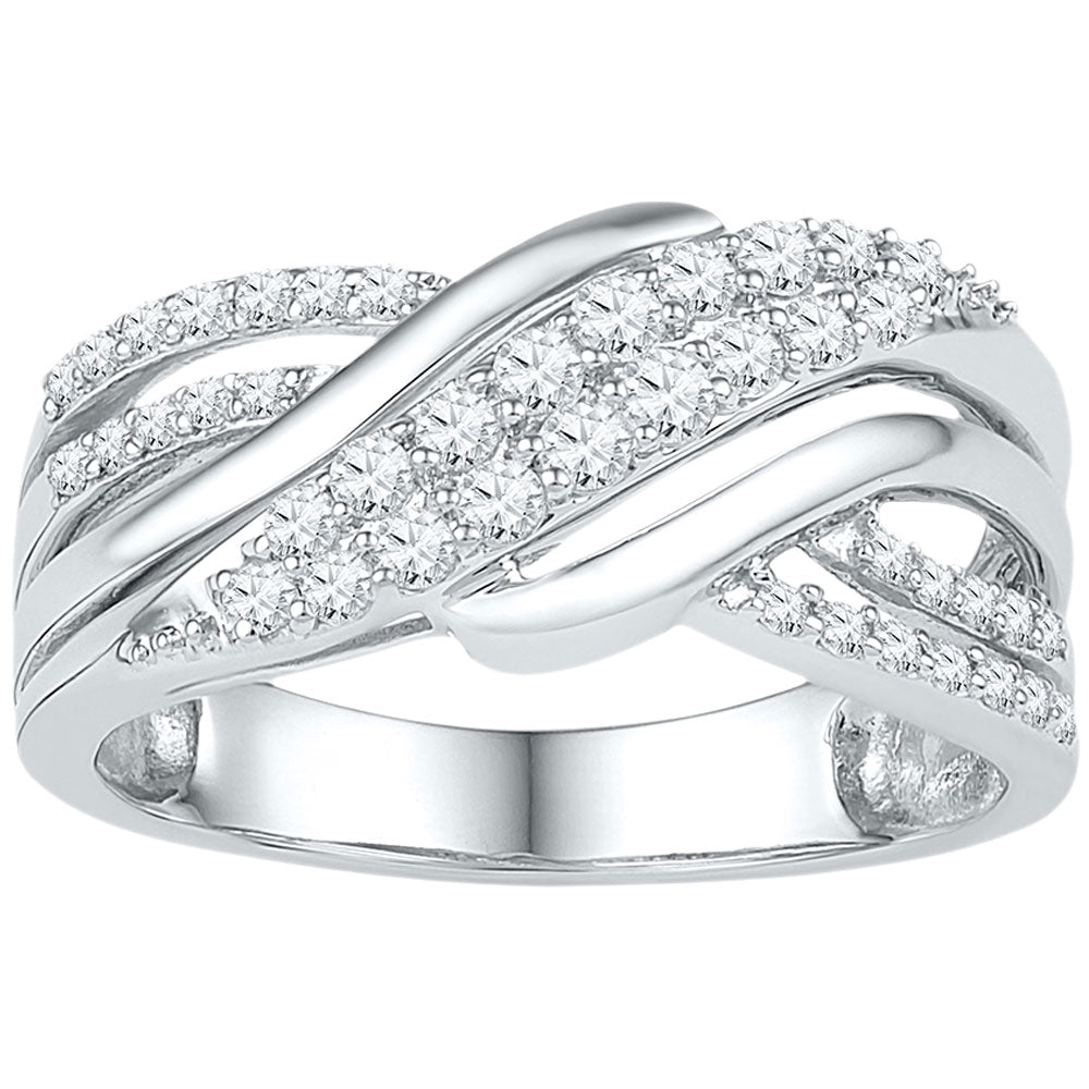 10kt White Gold Womens Round Diamond Crossover Band Ring 1/2 Cttw