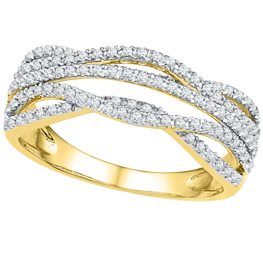 10kt Yellow Gold Womens Round Diamond Woven Band Ring 1/3 Cttw