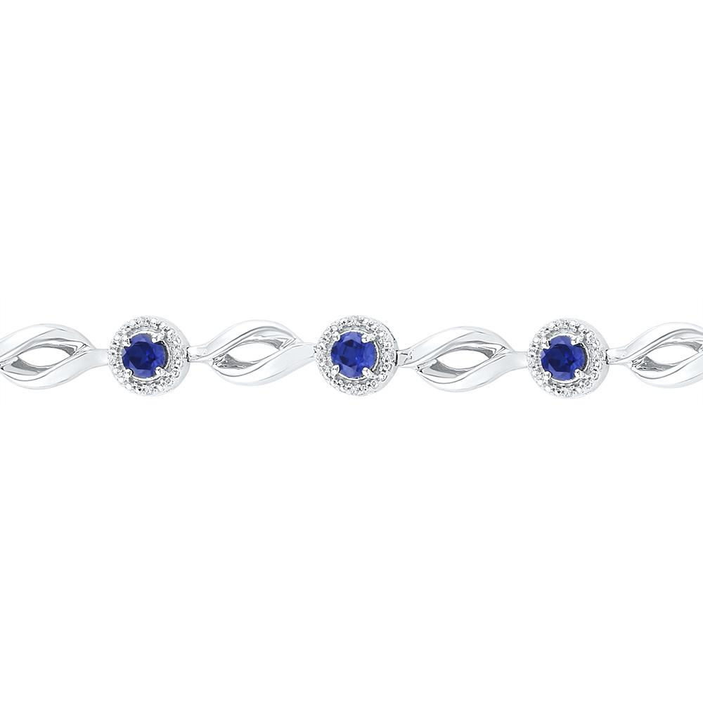 Sterling Silver Womens Round Lab-Created Blue Sapphire Tennis Bracelet 3-1/4 Cttw