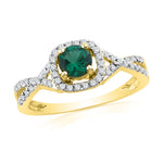 10kt Yellow Gold Womens Round Lab-Created Emerald Solitaire Diamond Ring 3/4 Cttw