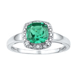 Sterling Silver Womens Cushion Lab-Created Emerald Solitaire Diamond Ring 1-3/4 Cttw