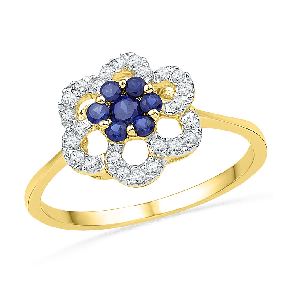 10kt Yellow Gold Womens Round Lab-Created Blue Sapphire & Diamond Flower Cluster Ring 1/8 Cttw