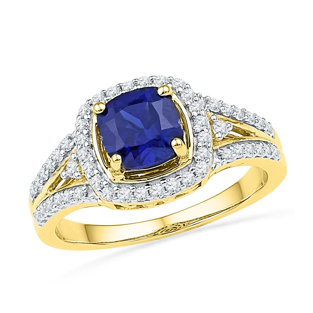 10kt Yellow Gold Womens Lab-Created Blue Sapphire Solitaire Ring 2-1/12 Cttw