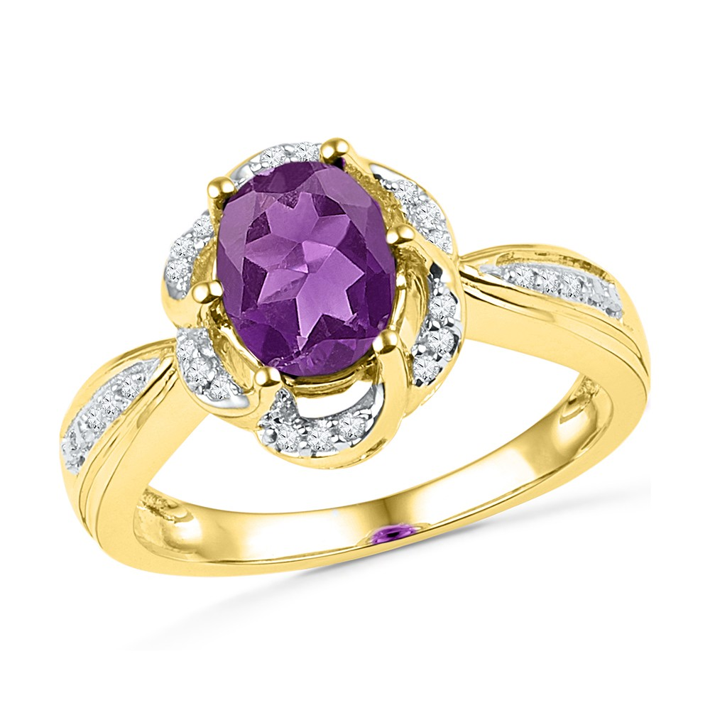 10kt Yellow Gold Womens Oval Lab-Created Amethyst Solitaire Diamond-accent Ring 1-3/4 Cttw