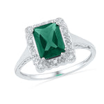 Sterling Silver Womens Emerald Lab-Created Emerald Solitaire Diamond Ring 1-3/4 Cttw
