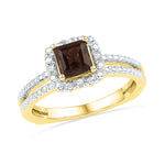 10kt Yellow Gold Womens Princess Lab-Created Smoky Quartz Solitaire Ring 5/8 Cttw