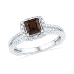 Sterling Silver Womens Princess Lab-Created Smoky Quartz Solitaire Ring 5/8 Cttw