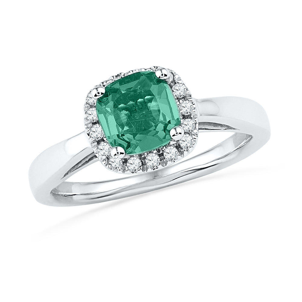10k White Gold Womens Lab-Created Emerald & Diamond Ring 1-1/2 Cttw