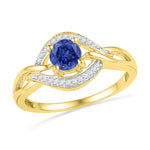 10kt Yellow Gold Womens Round Lab-Created Blue Sapphire Solitaire Woven Ring 5/8 Cttw