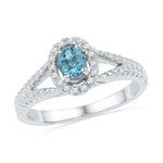 Sterling Silver Womens Oval Lab-Created Blue Topaz Solitaire Diamond Split-shank Ring 1/2 Cttw