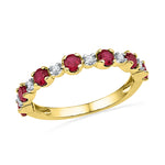 10kt Yellow Gold Womens Round Lab-Created Ruby Band Ring 1-1/10 Cttw