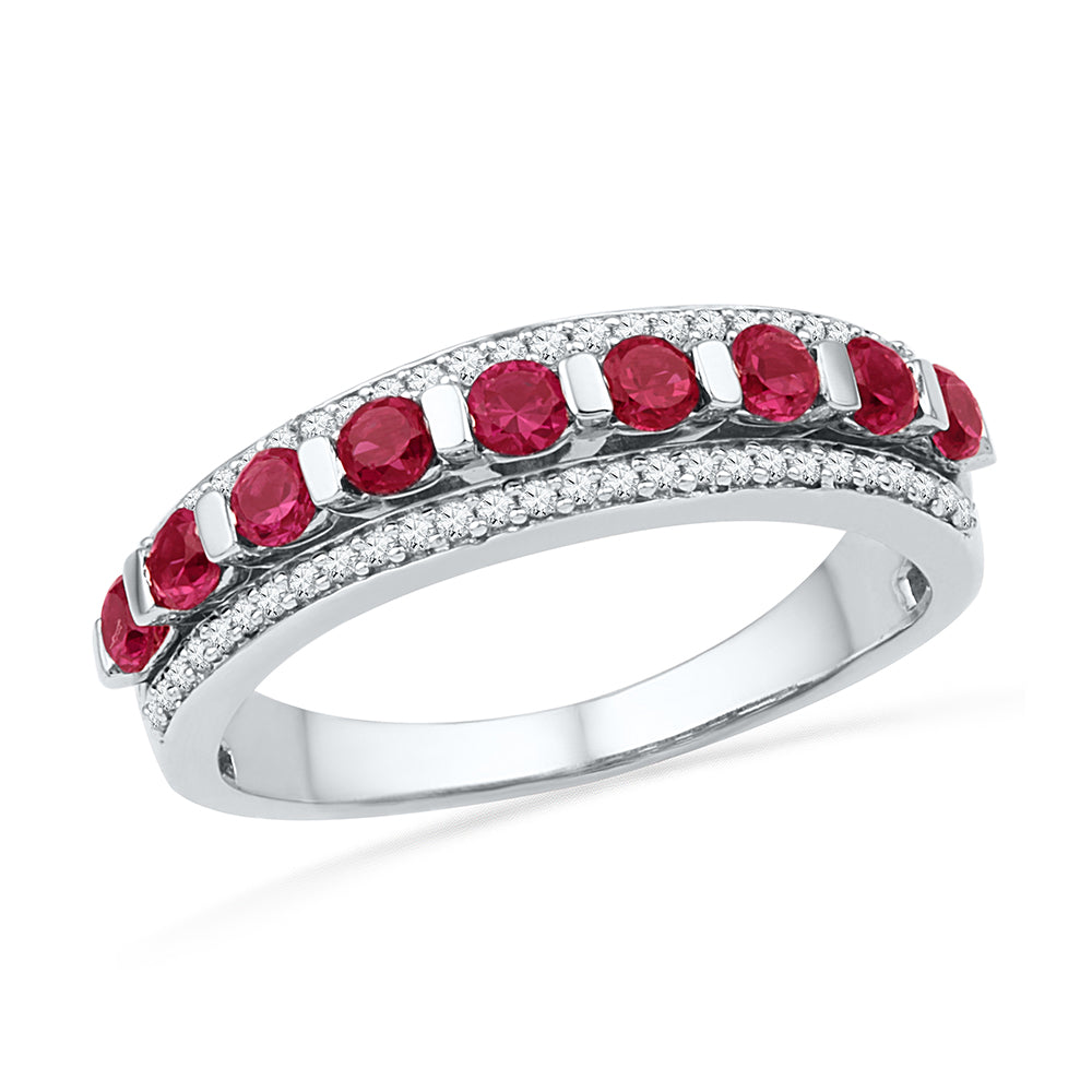 10kt White Gold Womens Round Lab-Created Ruby Diamond Band Ring 1-1/10 Cttw