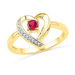 10kt Yellow Gold Womens Round Lab-Created Ruby Heart Love Ring 1/4 Cttw
