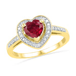 10kt Yellow Gold Womens Round Lab-Created Ruby Heart Love Ring 1.00 Cttw