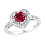 Sterling Silver Womens Round Lab-Created Ruby Heart Diamond Ring 1-1/8 Cttw