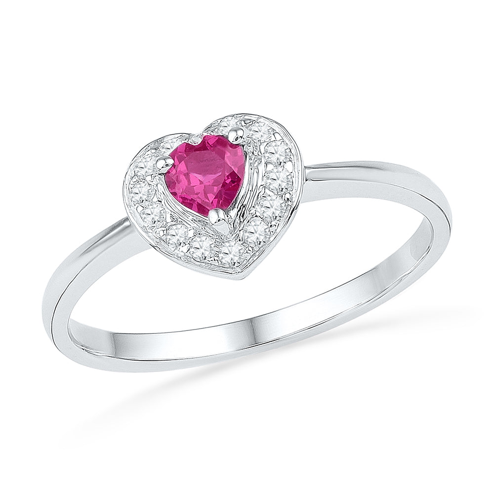 Sterling Silver Womens Round Lab-Created Pink Sapphire Heart Diamond Ring 3/8 Cttw