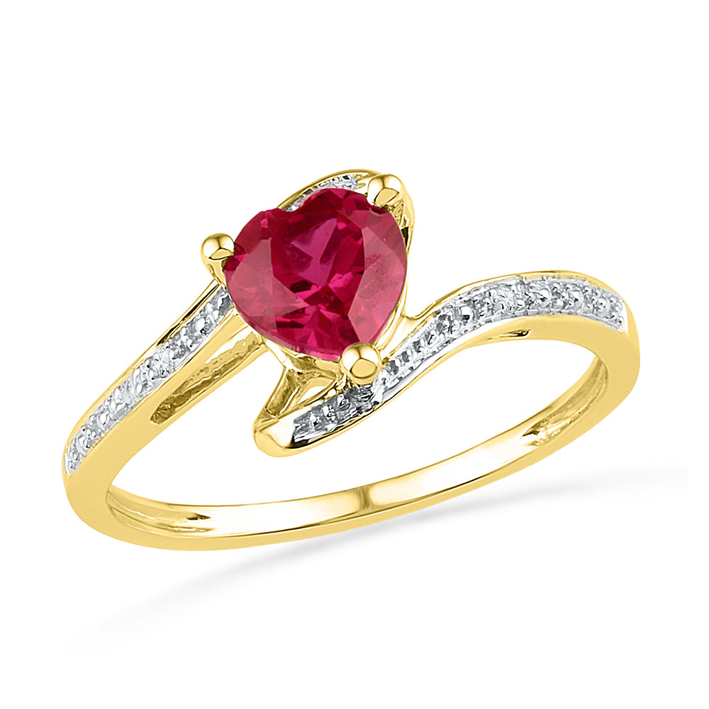 10kt Yellow Gold Womens Heart Lab-Created Ruby Solitaire Diamond-accent Bypass Ring 1.00 Cttw