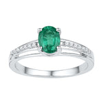 Sterling Silver Womens Oval Lab-Created Emerald Solitaire Diamond Ring 1/2 Cttw