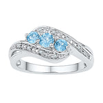 10kt White Gold Womens Round Lab-Created Blue Topaz 3-stone Diamond Ring 1/2 Cttw