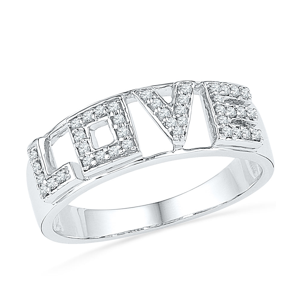 10kt White Gold Womens Round Diamond Love Band Ring 1/6 Cttw