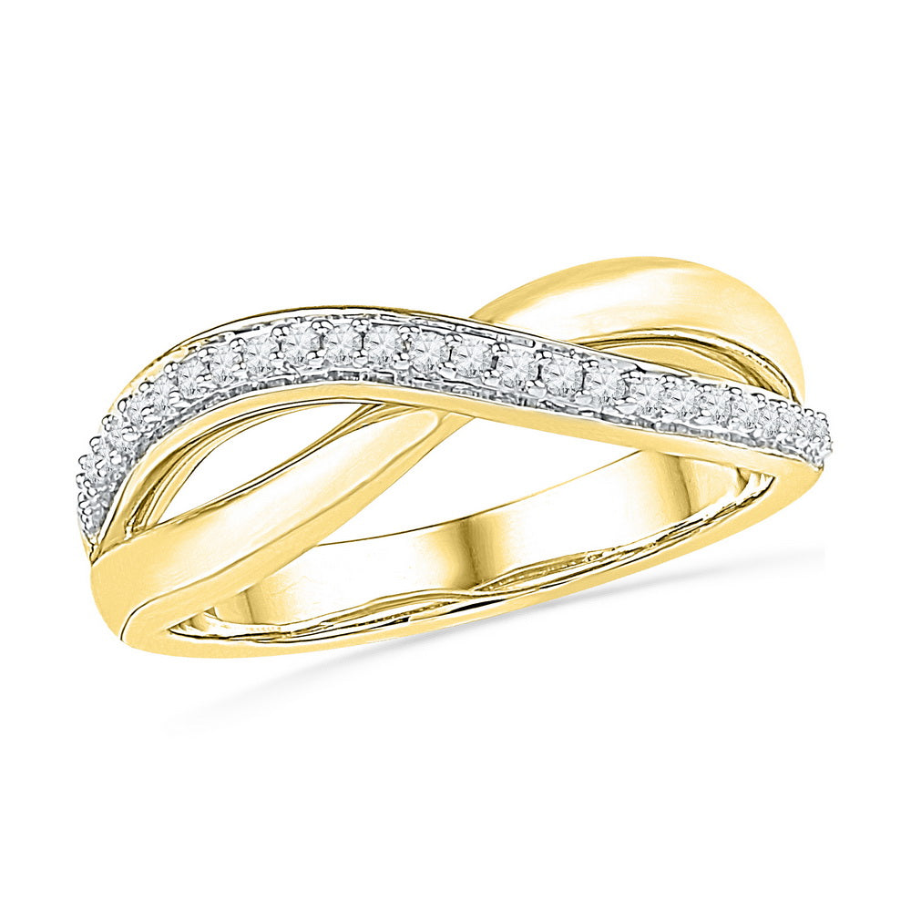 10kt Yellow Gold Womens Round Diamond Crossover Band Ring 1/10 Cttw