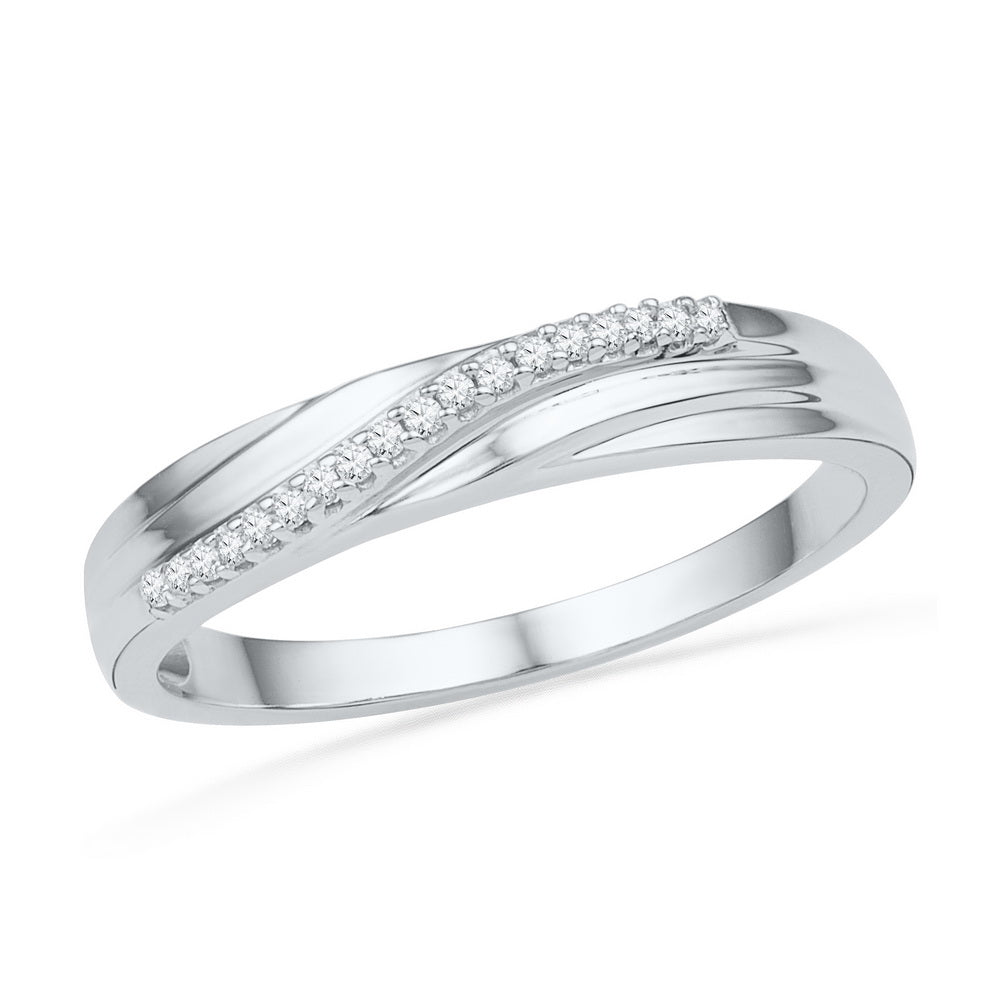 10kt White Gold Womens Round Diamond Band Ring 1/20 Cttw