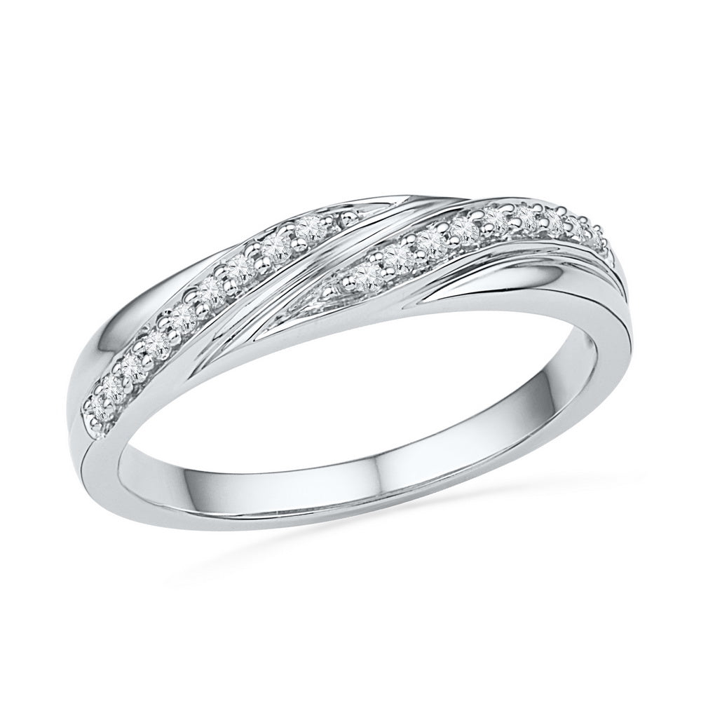10kt White Gold Womens Round Diamond Simple Band Ring 1/10 Cttw
