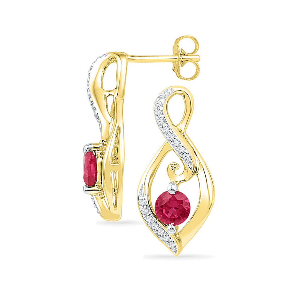 10kt Yellow Gold Womens Round Lab-Created Ruby Solitaire Oval Diamond Earrings 1.00 Cttw