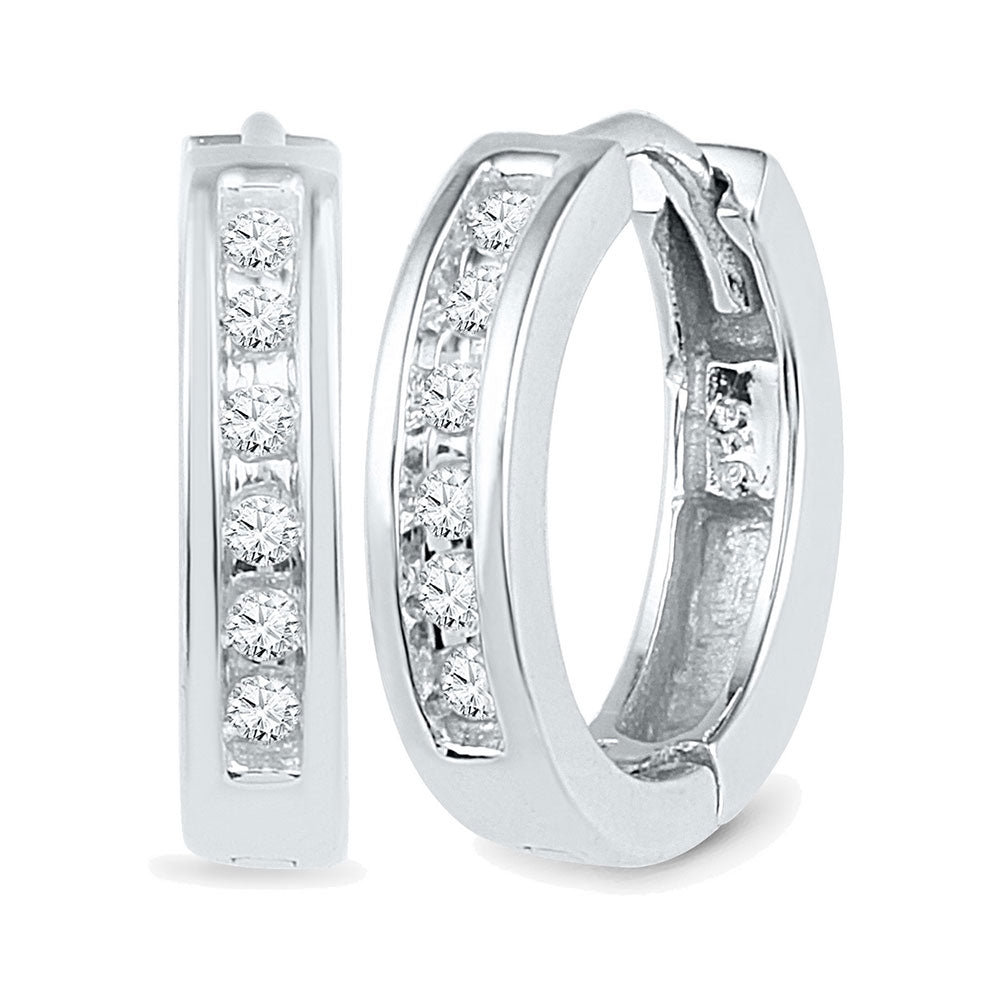 10kt White Gold Womens Round Diamond Hoop Earrings 1/8 Cttw