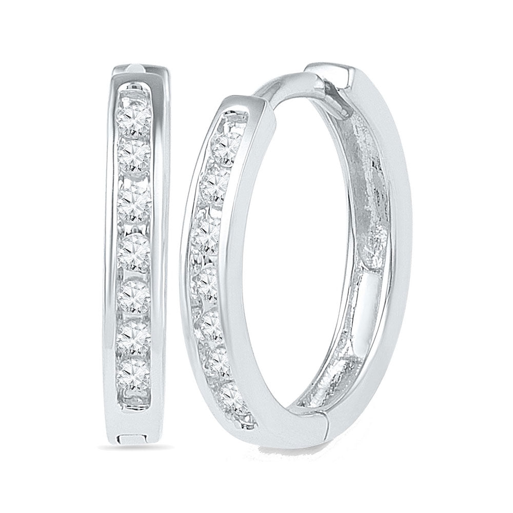 10kt White Gold Womens Round Channel-set Diamond Hoop Earrings 1/8 Cttw