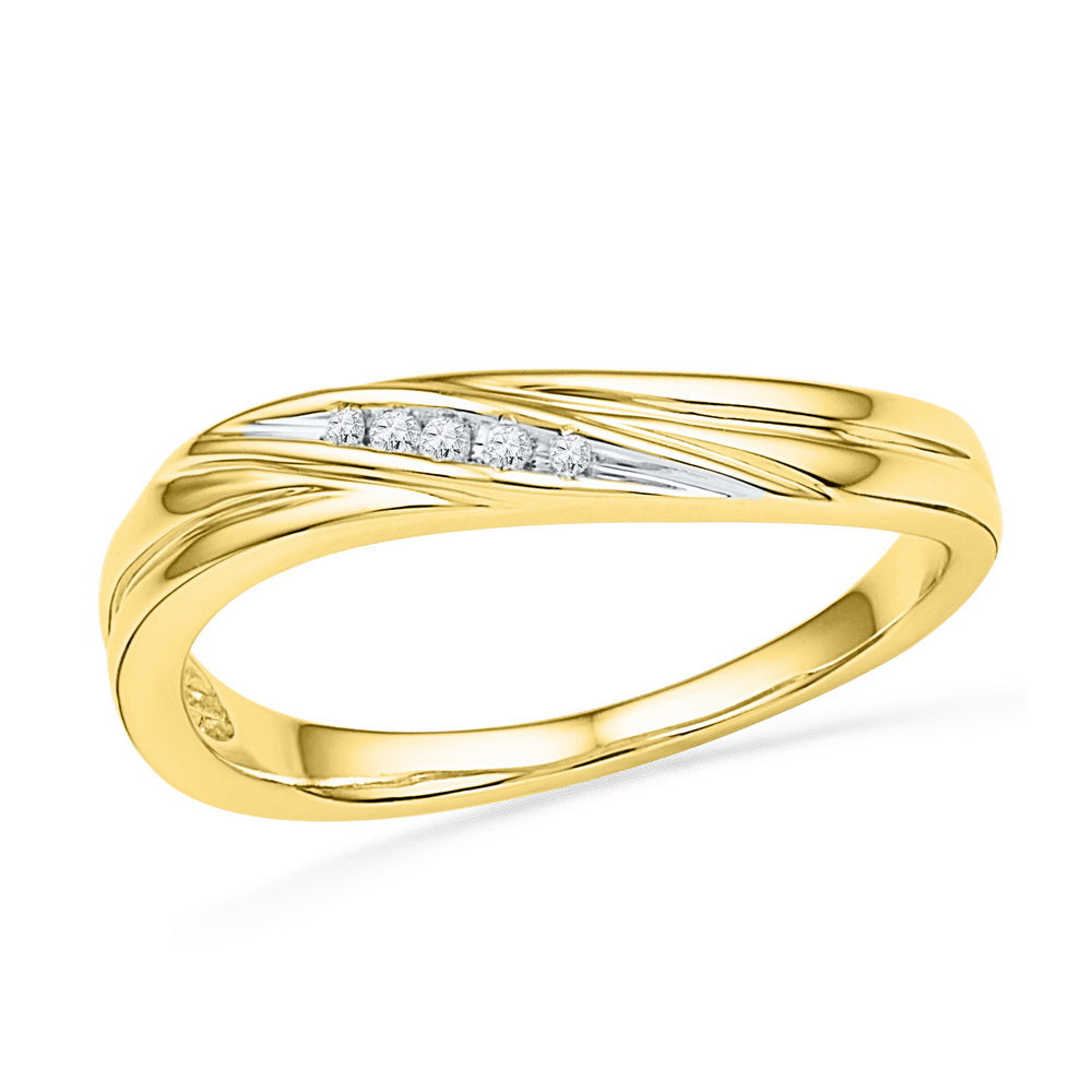10kt Yellow Gold Womens Round Diamond Contoured Band Ring .02 Cttw