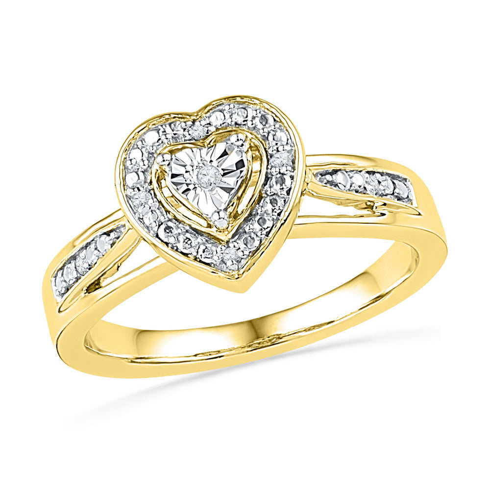10kt Yellow Gold Womens Round Diamond Heart Love Ring .03 Cttw
